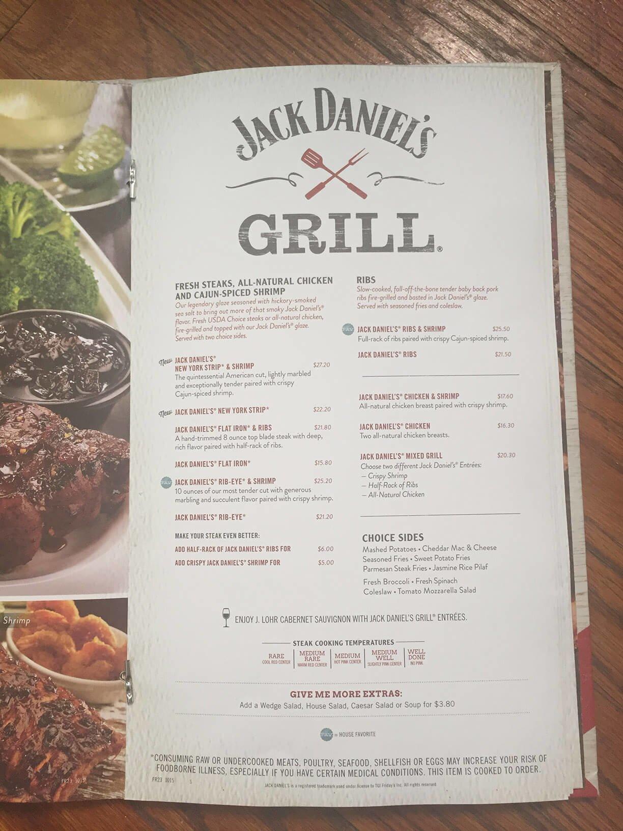 Fridays menu